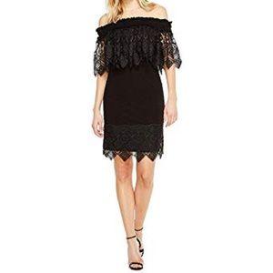 Badgley Mischka Lace Off the Shoulder Dress